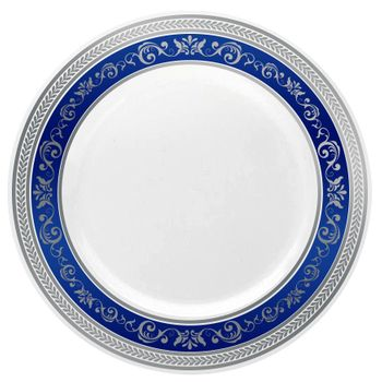 "Royal Collection 10 1/4"" White w/ Blue and Silver Royal Border Banquet Plastic Plates 10ct."