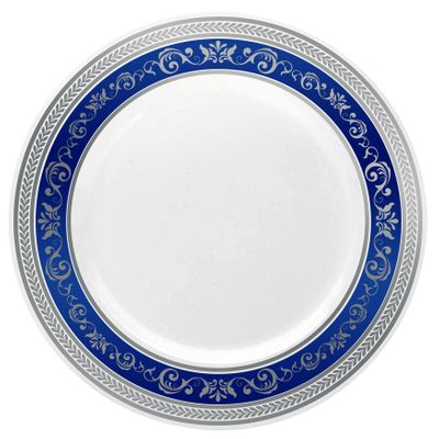 "Royal Collection 10 1/4"" White w/ Blue and Silver Royal Border Banquet Plastic Plates *Case of 120*"