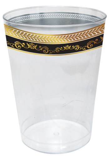 Royal Collection 10oz. Clear Plastic Cup with Black and Gold Royal Border, 10 ct.