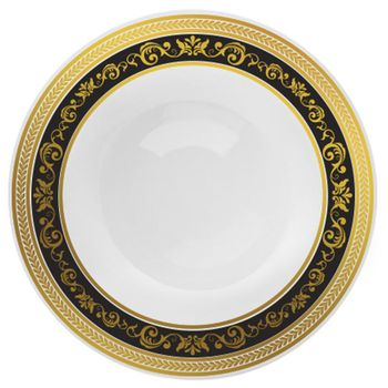 Royal Collection 12oz. White w/ Black and Gold Royal Border Plastic Soup Bowls 10ct.