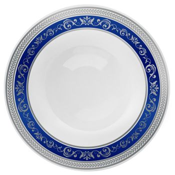 Royal Collection 12oz. White w/ Blue and Silver Royal Border Plastic Soup Bowls 10ct.