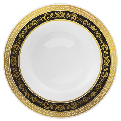 """Royal Collection 7.25"""" White w/ Black and Gold Royal Border Salad/Dessert Plastic Plates *Case of 120*"""