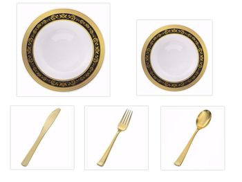 """Royal Collection White w/ Black and Gold Royal Border 10.25"""" Dinner Plates + 7.25"""" Salad Plates + Cutlery *Party of 100*"""