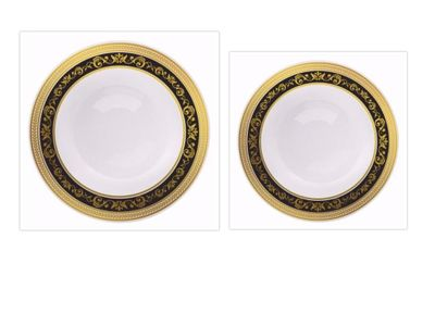 Royal Collection White w/ Black and Gold Royal Border *Combo Plate Package for 20*
