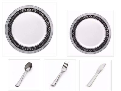 """Royal Collection White w/ Black and Silver Royal Border 10.25"""" Dinner Plates + 7.25"""" Salad Plates + Cutlery *Party of 100*"""