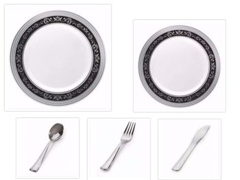 """Royal Collection White w/ Black and Silver Royal Border 10.25"""" Dinner Plates + 7.25"""" Salad Plates + Cutlery *Party of 60*"""