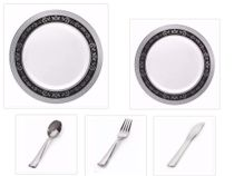 "Royal Collection White w/ Black and Silver Royal Border 10.25"" Dinner Plates + 7.25"" Salad Plates + Cutlery *Party of 60*"