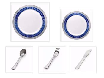 """Royal Collection White w/ Blue and Silver Royal Border 10.25"""" Dinner Plates + 7.25"""" Salad Plates + Cutlery *Party of 100*"""
