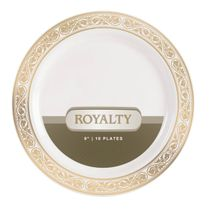 Royalty Collection Ivory/Gold 9″ Lunch Plastic Plates 120 Count