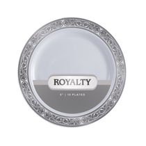 Royalty Collection White/Silver 9″ Lunch Plastic Plates 120 Count