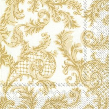Sans Souci White and Gold Beverage Napkins, 20ct.
