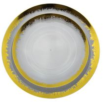 "Scratched Clear & Gold 10"" Dinner Plastic Party Plates 10ct."