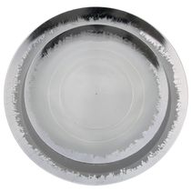 "Scratched Clear & Silver 8"" Salad / Dessert Plastic Party Plates 10ct."