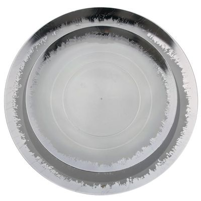 """Scratched Clear & Silver 8"""" Salad / Dessert Plastic Party Plates 10ct."""