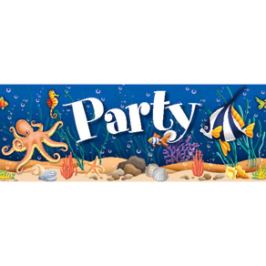 Sea Life Under The Sea Birthday Fringe Banner 6ft.