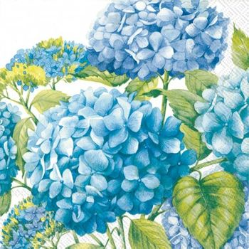 Sea Of Blossoms White and Blue Beverage Napkins, 20ct.