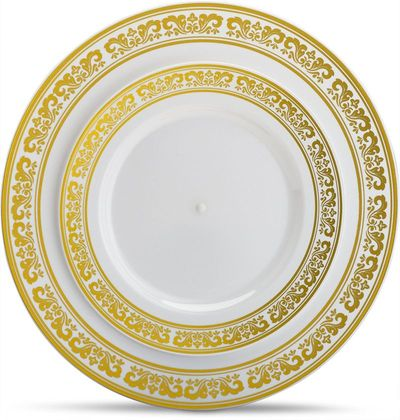 Serviette Collection Combo Pack - White Plates w/Elegant Gold Border Dinner and Salad Plates, 40 count