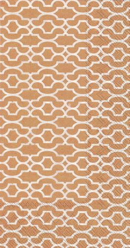 Sienna Copper Gold Patterned Guest Towels Napkins 16ct.