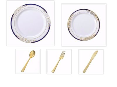 """Signature Blu Collection White w/ Blue and Gold Victorian Style Border 10.25"""" Dinner Plates + 7.25"""" Salad Plates + Cutlery *Party of 100*"""