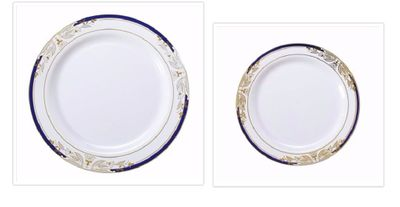 Signature Blu Collection White w/ Blue and Gold Victorian Style Border *Combo Plate Package for 20*