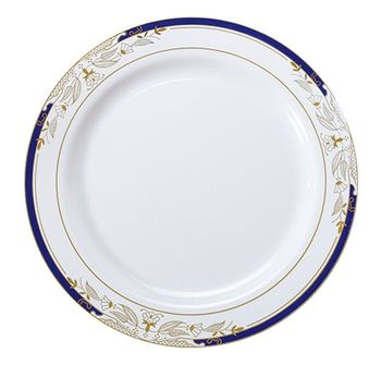 "Signature Blu White w/ Blue and Gold Victorian Style Border 10.25"" Plastic Dinner Plates *Case of 120*"