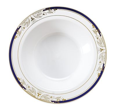 Signature Blu White w/ Blue and Gold Victorian Style Border 12oz. Plastic Soup Bowls *Case of 120*