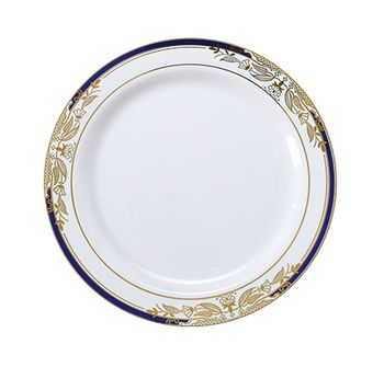 """Signature Blu White w/ Blue and Gold Victorian Style Border 7.5"""" Plastic Salad Plates *Case of 120*"""