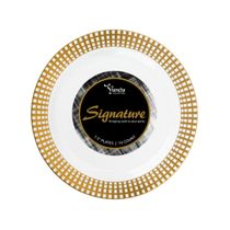 Signature Collection White/Gold 7.5″ Salad Plastic Plates 120 Count