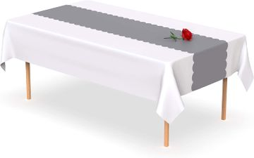 Silver Grey Scallop Disposable Table Runner 14 x 108 inch. Adhesive Strips Included 5 Count