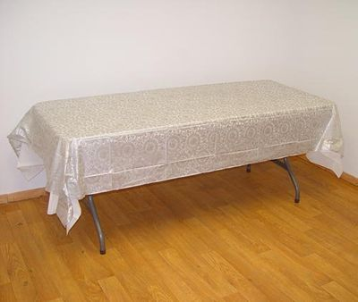 Silver Lace Rectangular Plastic Tablecloths