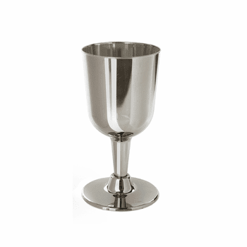 Silver Like 6oz. Wine Disposable Cup On Stand 6ct.