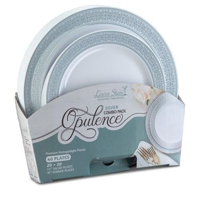 Silver Opulence Collection Tableware Set of 40 White Party Plates w/Silver Whimsical Border