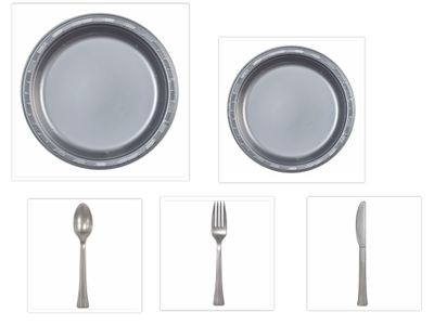 """Silver Plastic 10"""" Dinner Plates + 7"""" Salad Plates + Cutlery *Case of 100*"""