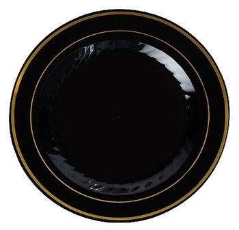 "Gold Splendor 10 1/4"" Black Dinner Plastic Plates w/ Gold Band 12ct"