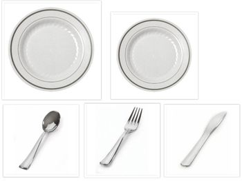 "Silver Splendor 10.25"" Dinner Plates + 7"" Salad Plates + Cutlery *Case of 120*"