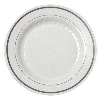 "Silver Splendor 7"" White Salad Plastic Plates w/ Silver Band *Case of 150*"