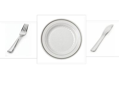 """Silver Splendor 9"""" Dinner Plates + Forks and Knives Cutlery *Case of 120*"""