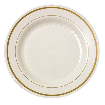 """Silver Splendor 9"""" Ivory Luncheon Plastic Plates w/ Gold Band *Case of 120*"""