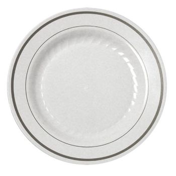 "Silver Splendor 9"" White Luncheon Plastic Plates w/ Silver Band 12ct."