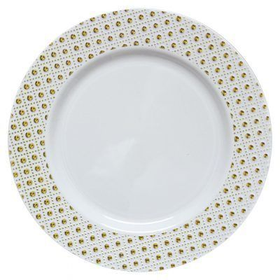 """Sphere Collection 10.25"""" White w/Decorative Gold Dot Border Plastic Dinner Plates, 10 count"""