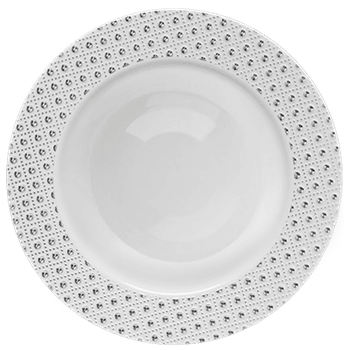 "Sphere Collection 7.25"" White w/Decorative Silver Dot Border Plastic Salad Plates, 10 count"