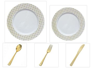 """Sphere Collection White w/ Decorative Gold Dot Border 10.25"""" Dinner Plastic Plates + 7.25"""" Salad Plastic Plates + Gold Cutlery *Party of 100*"""