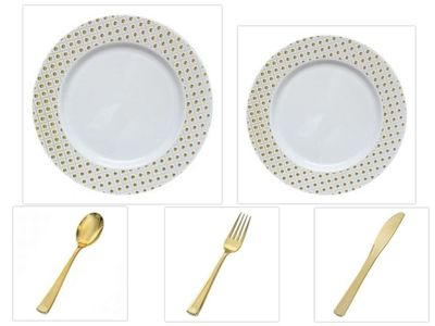 "Sphere Collection White w/ Decorative Gold Dot Border 10.25"" Dinner Plates + 7.25"" Salad Plates + Cutlery *Party of 40*"