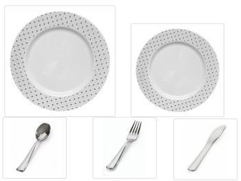 "Sphere Collection White w/ Decorative Silver Dot Border 10.25"" Dinner Plastic Plates + 7.25"" Salad Plastic Plates + Silver Cutlery *Party of 120*"