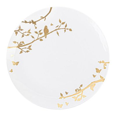 """Spring Collection Gold Floral Plastic Banquet / Dinner 10"""" Party Wedding Plates (10 count)"""