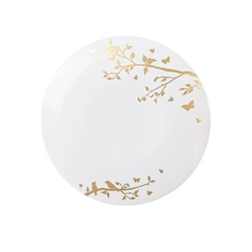 """Spring Collection Gold Floral Plastic Salad 7.5"""" Party Wedding Plates (10 count)"""