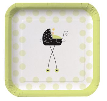 "Stroller Fun 10"" Square Dinner Plates 8ct."