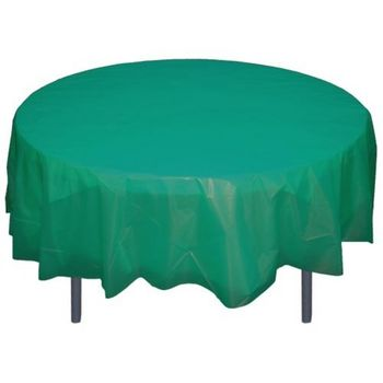 "Teal 84"" Round Plastic Tablecloths Table Covers"