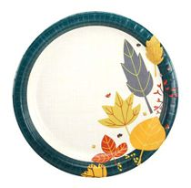 "Teal Leaves 10"" Premium Banquet Thanksgiving Paper Plate 24ct."