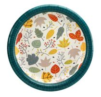 "Teal Leaves 9"" Premium Luncheon Thanksgiving Paper Plate 48ct."